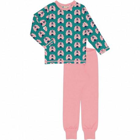 Pyjama manches longues en coton biologique Maxomorra, motif Paon
