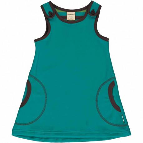Robe en velours biologique Maxomorra, turquoise