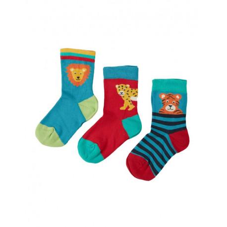 Pack de 3 paires de chaussettes Frugi, motif fauves
