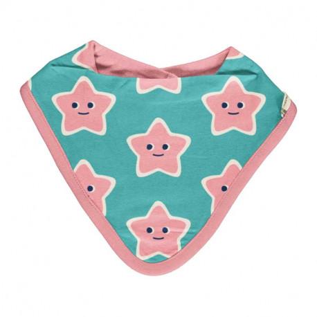 Bavoir bandana en coton bio Maxomorra, motif étoile de mer