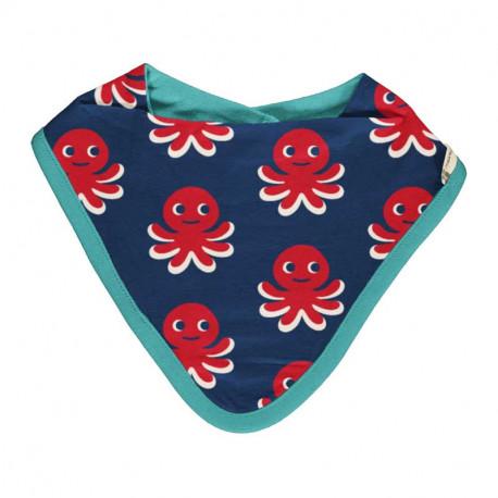 Bavoir bandana en coton bio Maxomorra, motif pieuvre