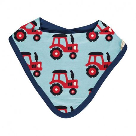 Bavoir bandana en coton bio Maxomorra, motif tracteur