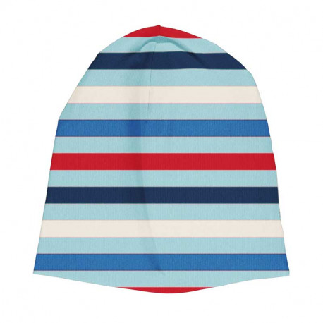 Bonnet en coton bio Maxomorra, rayé bleu