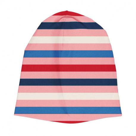 Bonnet en coton bio Maxomorra, rayé rose