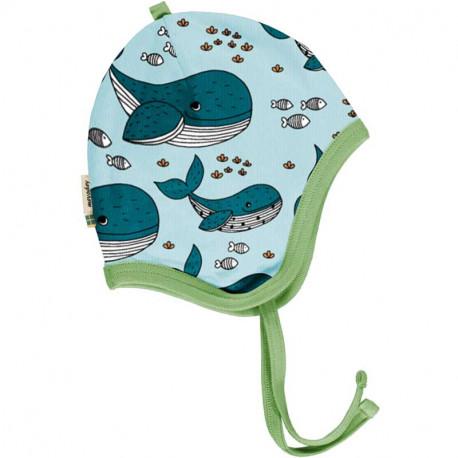 Bonnet en coton bio Meyadey, motif baleine