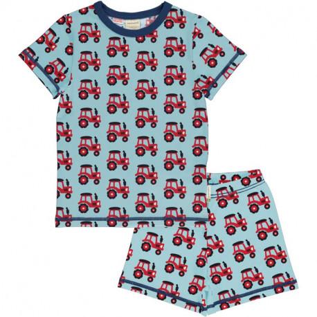 Pyjama d'été en coton bio Maxomorra, motif tracteur