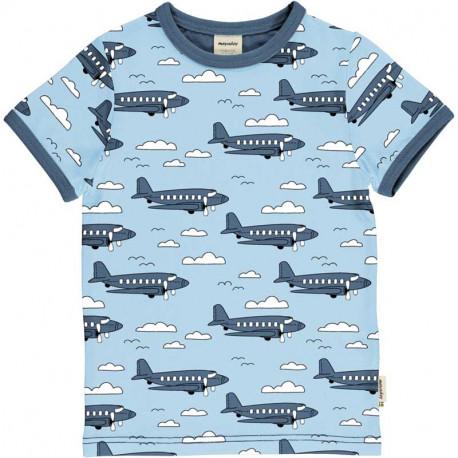 T-shirt manches courtes en coton bio Meyadey, motif avions