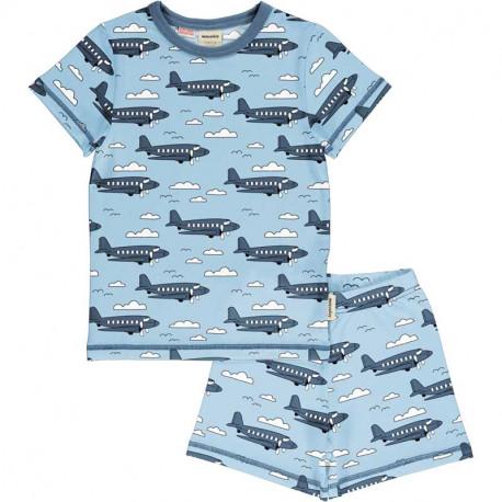 Pyjama d'été en coton bio Meyadey, motif avions