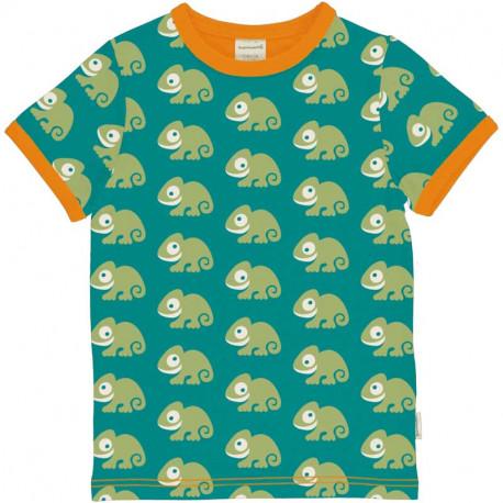 T-shirt manches courtes en coton bio Maxomorra, motif Caméléon