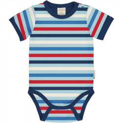 Body manches courtes en coton bio Maxomorra, rayures bleues