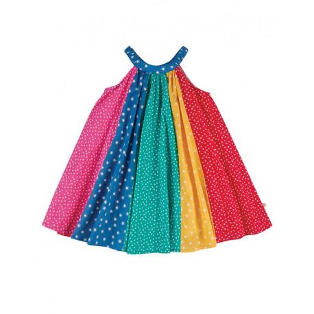 Robe trapèze en coton bio FRUGI, couleurs arc-en-ciel