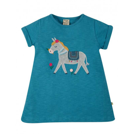 T-shirt tunique en coton bio FRUGI, motif âne