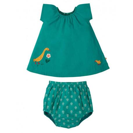 Tenue réversible bébé en coton bio Frugi, motif canard