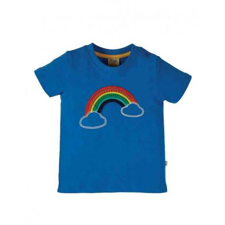 T-shirt en coton bio FRUGI, motif arc-en-ciel brodé