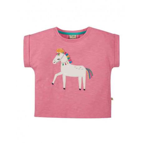 T-shirt manches courtes fils flammés Frugi, motif cheval