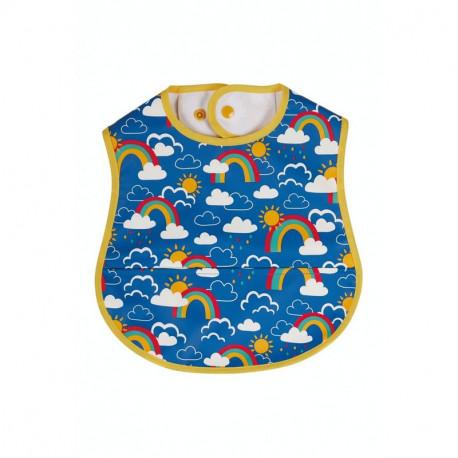 Bavoir bébé Frugi, motif arc-en-ciel