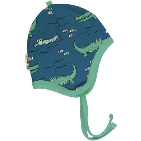 Bonnet bébé en coton biologique Meyadey, motif Crocodiles