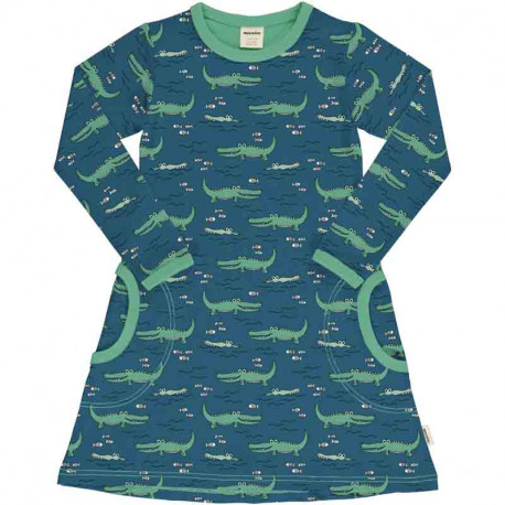 Robe manches longues en coton biologique, motif Crocodiles