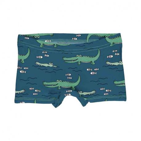 Slip shorty en coton biologique Meyadey, motif Crocodiles