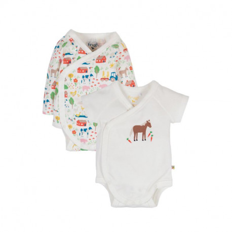 Pack de 2 bodies bébé en coton biologique Frugi, motif ferme