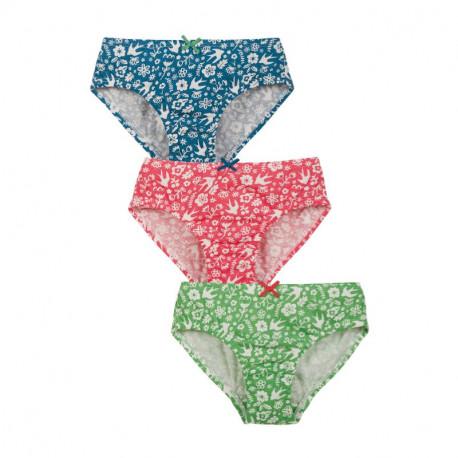Pack de 3 culottes en coton biologique Frugi, motif fleurs et oiseaux