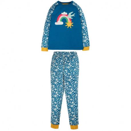 Pyjama manches longues en coton biologique Frugi, motif arc-en-ciel