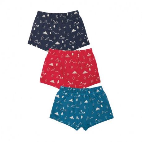 Pack de 3 boxers en coton biologique Frugi, motif montagne