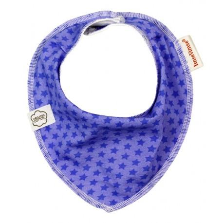 Bavoir bandana en coton bio ImseVimse - Etoiles Violettes